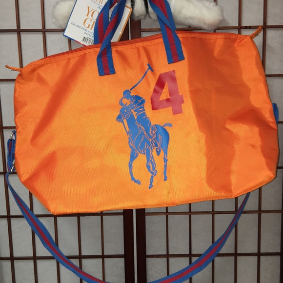 54764f1d02ab Ralph Lauren Big Pony Collection Orange Duffel Bag